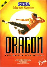 Box cover for Dragon: The Bruce Lee Story on the Sega Master System.