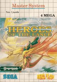 Box cover for Heroes of the Lance on the Sega Master System.