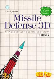 Box cover for Missile Defense 3-D on the Sega Master System.