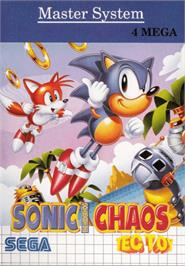 Box cover for Sonic Chaos on the Sega Master System.