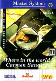 Box cover for Where in the World is Carmen Sandiego on the Sega Master System.