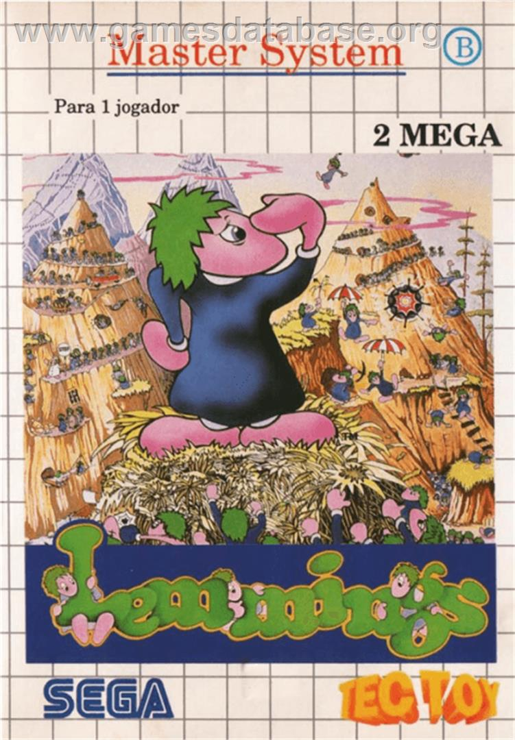 Box cover for Lemmings on the Sega Master System.