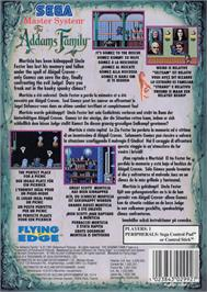 Box back cover for Addams Family, The on the Sega Master System.