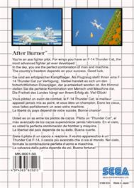 Box back cover for After Burner on the Sega Master System.