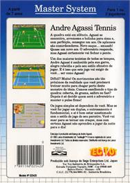 Box back cover for Andre Agassi Tennis on the Sega Master System.