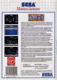 Box back cover for Arcade Smash Hits on the Sega Master System.
