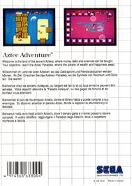 Box back cover for Aztec Adventure: The Golden Road to Paradise on the Sega Master System.