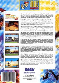 Box back cover for Back to the Future 3 on the Sega Master System.