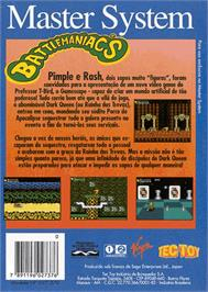 Box back cover for Battle Toads in Battlemaniacs on the Sega Master System.