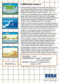 Box back cover for California Games on the Sega Master System.