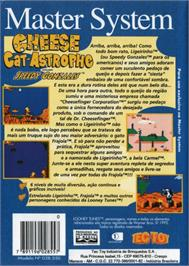 Box back cover for Cheese Cat-Astrophe starring Speedy Gonzales on the Sega Master System.