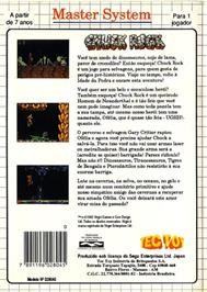 Box back cover for Chuck Rock on the Sega Master System.
