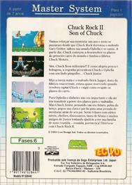 Box back cover for Chuck Rock 2: Son of Chuck on the Sega Master System.