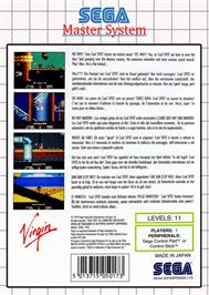 Box back cover for Cool Spot on the Sega Master System.