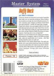 Box back cover for Daffy Duck in Hollywood on the Sega Master System.