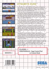 Box back cover for Dynamite Duke on the Sega Master System.