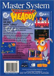Box back cover for Dynamite Headdy on the Sega Master System.