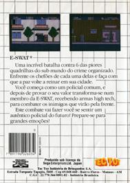 Box back cover for E-SWAT: City Under Siege on the Sega Master System.