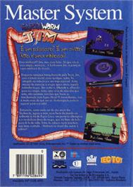 Box back cover for Earthworm Jim on the Sega Master System.