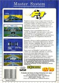 Box back cover for F1 on the Sega Master System.
