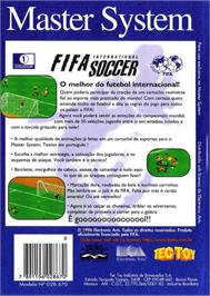 Box back cover for FIFA International Soccer on the Sega Master System.