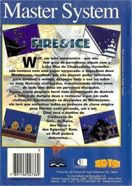 Box back cover for Fire and Ice on the Sega Master System.