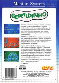 Box back cover for Geraldinho on the Sega Master System.