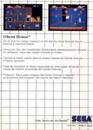 Box back cover for Ghost House on the Sega Master System.