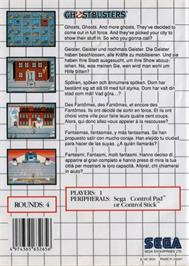 Box back cover for Ghostbusters on the Sega Master System.