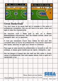 Box back cover for Great Basketball on the Sega Master System.
