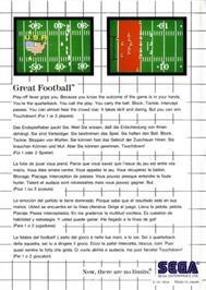Box back cover for Great Football on the Sega Master System.