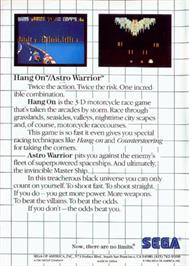 Box back cover for Hang-On & Astro Warrior on the Sega Master System.
