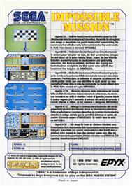 Box back cover for Impossible Mission on the Sega Master System.