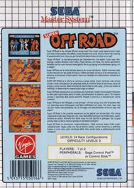Box back cover for Ironman Ivan Stewart's Super Off-Road on the Sega Master System.