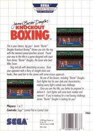 Box back cover for James 'Buster' Douglas Knockout Boxing on the Sega Master System.