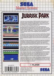 Box back cover for Jurassic Park on the Sega Master System.