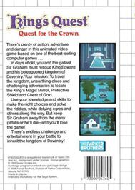 Box back cover for King's Quest on the Sega Master System.