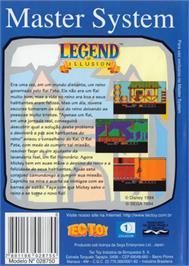 Box back cover for Legend of Illusion starring Mickey Mouse on the Sega Master System.