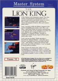 Box back cover for Lion King on the Sega Master System.