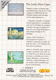 Box back cover for Lucky Dime Caper starring Donald Duck on the Sega Master System.