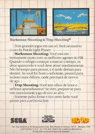 Box back cover for Marksman Shooting & Trap Shooting on the Sega Master System.