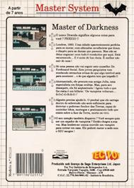 Box back cover for Master of Darkness on the Sega Master System.