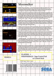 Box back cover for Michael Jackson's Moonwalker on the Sega Master System.