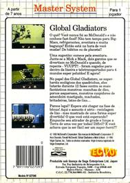 Box back cover for Mick & Mack as the Global Gladiators on the Sega Master System.