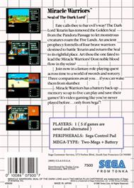 Box back cover for Miracle Warriors: Seal of the Dark Lord on the Sega Master System.
