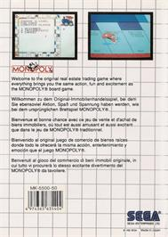 Box back cover for Monopoly on the Sega Master System.