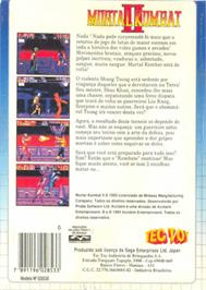 Box back cover for Mortal Kombat II on the Sega Master System.