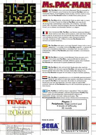Box back cover for Ms. Pac-Man on the Sega Master System.