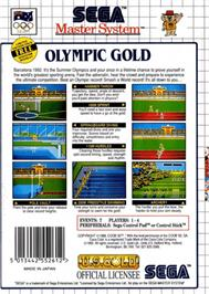 Box back cover for Olympic Gold: Barcelona '92 on the Sega Master System.