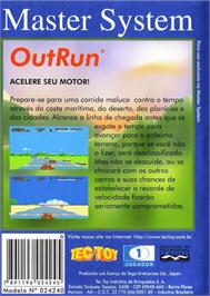 Box back cover for Out Run on the Sega Master System.
